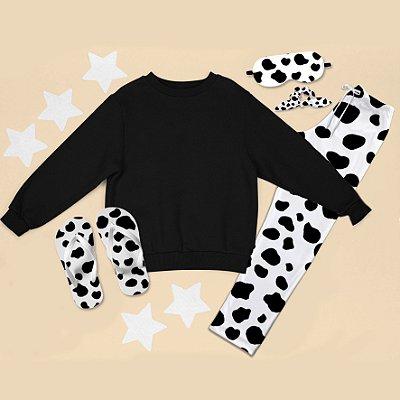 Conjunto Moletom peluciado Preto + Calça Pijama + Chinelo de dedo