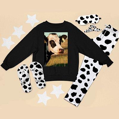 Conjunto Moletom Peluciado Preto Vaca + Calça Pijama + Chinelo de dedo