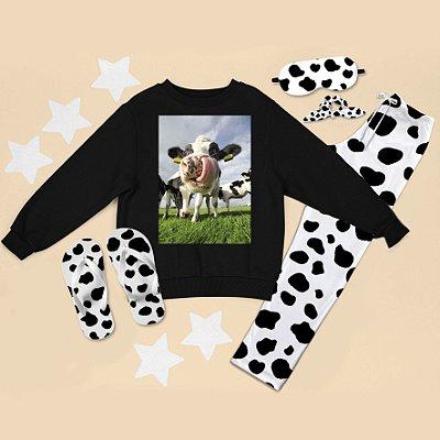 Conjunto Moletom Peluciado Preto Vaca Língua + Calça Pijama + Chinelo de dedo