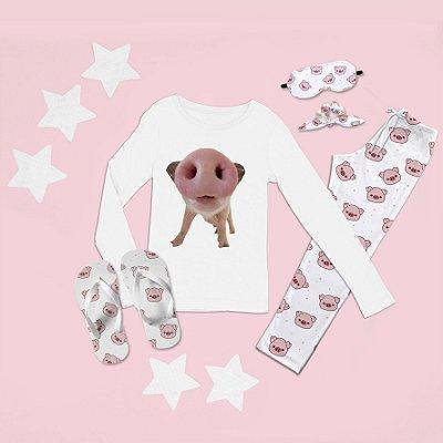 Conjunto Pijama Longo Porco + Chinelo de dedo