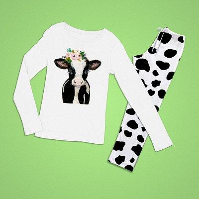 Conjuntinho Pijama Longo Vaca Desenho