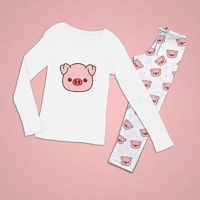 Conjuntinho Pijama Longo Porco Cara