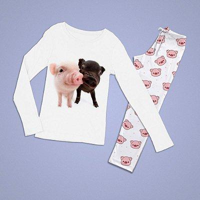 Conjuntinho Pijama Longo 2 Porquinhos