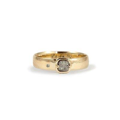 Anel em Ouro Amarelo 18k e Diamante Bruto