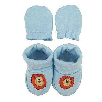 Kit Luva E Sapato Bebê Leão - Azul Bebê