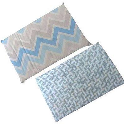 Travesseiro Anti Sufocante Bebê Estampado - Azul Bebê