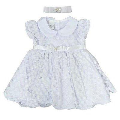 Vestido Bebê Em Renda Bolinha - Branco