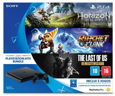 Console PLAYSTATION 4 SLIM 500GB C/ THE LAST / RATCHET / HORIZON