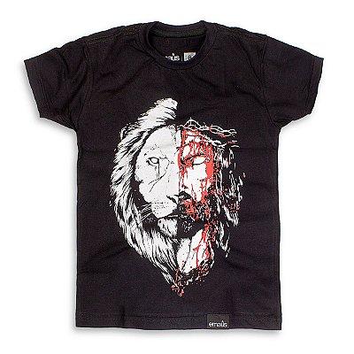 CAMISETA INFANTIL JESUS LEÃO PRETO