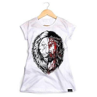 CAMISETA FEMININA JESUS&LION BRANCA