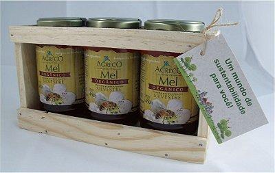 Kit presente orgânico. 03 méis ou melados orgânicos e caixa de madeira