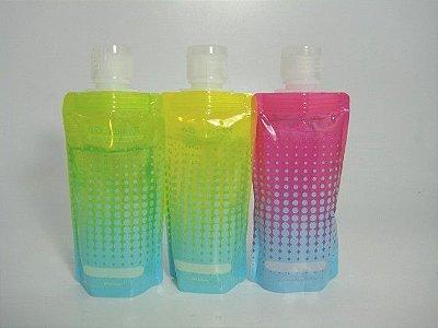 Kit viagem para produtos de higiene pessoal com 3 frascos dobráveis
