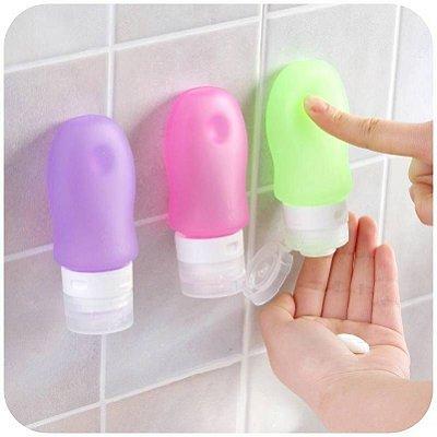 Frascos de silicone para produtos de higiene com ventosa