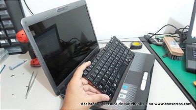 Assistência Técnica de Notebook Toshiba Satellite A300-1D0, reparo da placa mãe feito aqui no Consertos.com