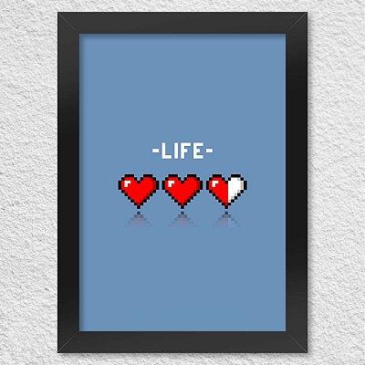 Poster com Moldura 8-bit Life