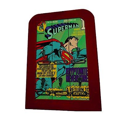 Porta-chaves de madeira Superman com 6 ganchos