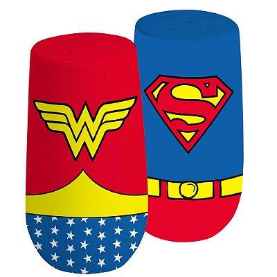 Saleiro e Pimenteiro Super Homem e Mulher Maravilha