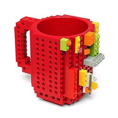 Caneca Blocos de Montar Lego Vermelho