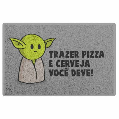Capacho em Vinil Yoda - Trazer Pizza e Cerveja Você Deve - 60 x 40