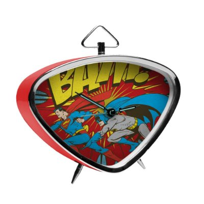 Relógio de Mesa Triangular Batman e Super Homem DC Comics