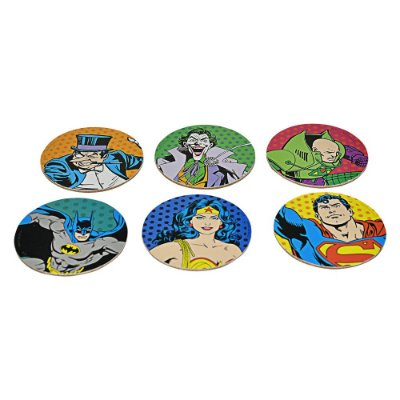 Porta Copos Batman, Super Homem e Mulher Maravilha Com 6 Peças