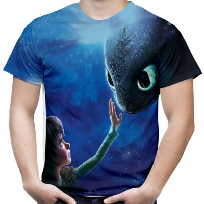 Camiseta Masculina Como Treinar Seu Dragão Estampa Total