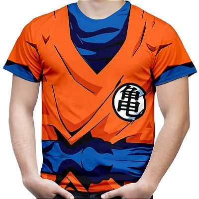 Camiseta Masculina Traje Goku Estampa Total