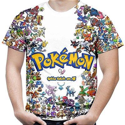 Camiseta Masculina Pokemon Estampa Total MD01