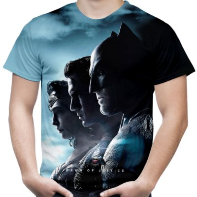 Camiseta Masculina Batman vs Superman Estampa Total Md01