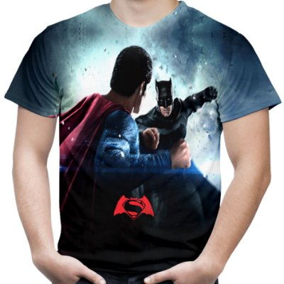 Camiseta Masculina Batman vs Superman Estampa Total Md02