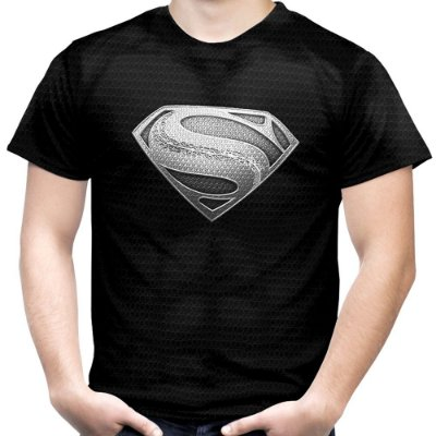 Camiseta Masculina Superman Armadura Black Estampa Total