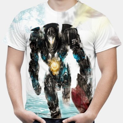 Camiseta Masculina Círculo de Fogo Pacific Rim Estampa Total