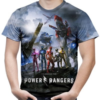 Camiseta Masculina Power Rangers Estampa Total Md01