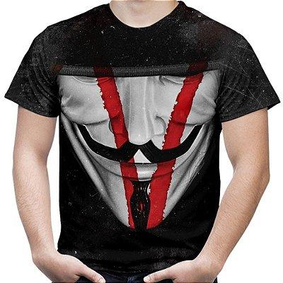Camiseta Masculina V de Vingança Estampa Total