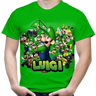 Camiseta Masculina Luigi Mario Bros Estampa Total