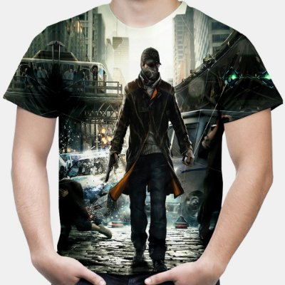Camiseta Masculina Watch Dogs Estampa Total Md01