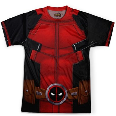 Camiseta Masculina Deadpool Traje Estampa Total