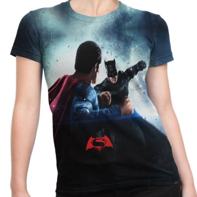 Baby look Feminina Batman vs Superman Estampa Total Md02