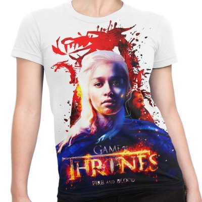 Baby look Feminina Game of Thrones Daenerys Targaryen Estampa Total