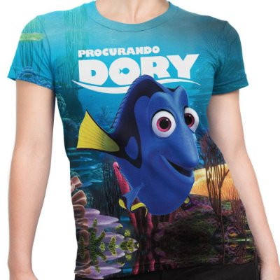 Baby look Feminina Procurando Dory Estampa Total MD01