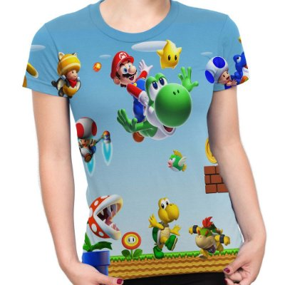 Baby look Feminina Mario Bros Estampa Total Md02