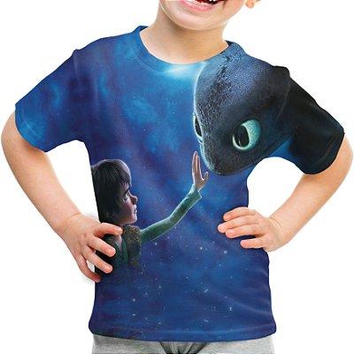Camiseta Infantil Como Treinar Seu Dragão Estampa Total