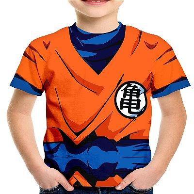 Camiseta Infantil Traje Goku Estampa Total