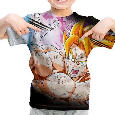 Camiseta Infantil Goku Kame Rame Rá Estampa Total MD02