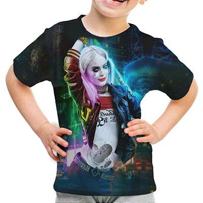 Camiseta Infantil Arlequina Harley Quinn Estampa Total