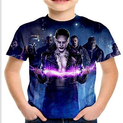 Camiseta Infantil Esquadrão Suicida Estampa Total Md04