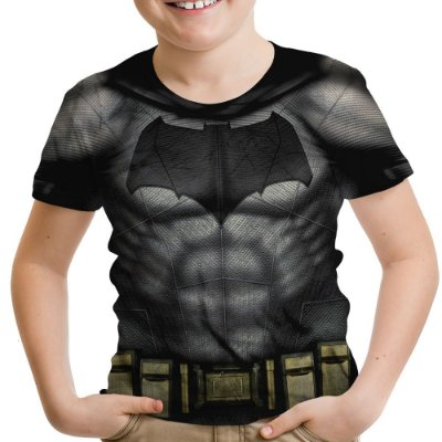 Camiseta Infantil Batman Armadura Estampa Total Md02
