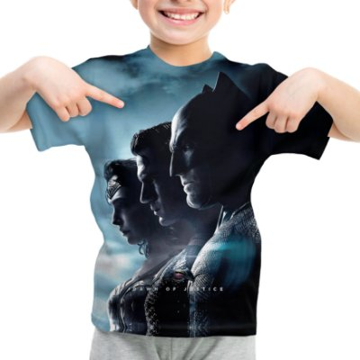 Camiseta Infantil Batman vs Superman Estampa Total Md01