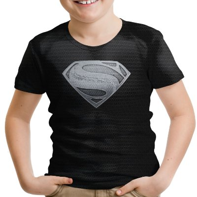 Camiseta Infantil Superman Armadura Black Estampa Total