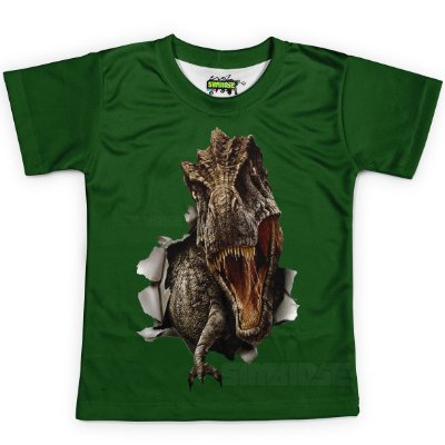 Camiseta Infantil T-Rex Estampa Total Md01